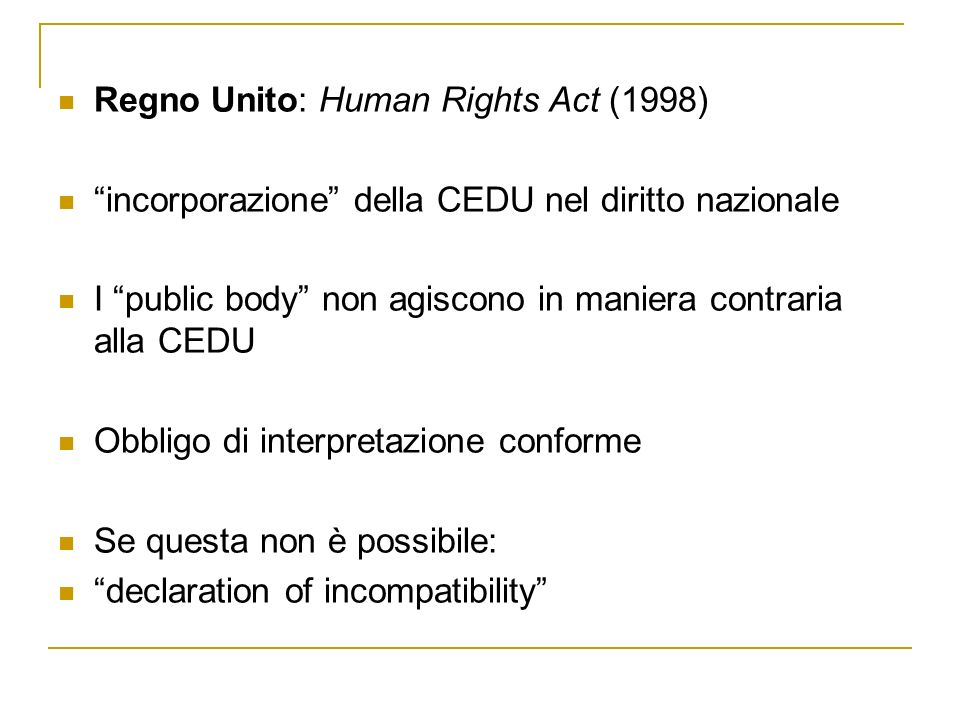 Regno Unito: Human Rights Act (1998)