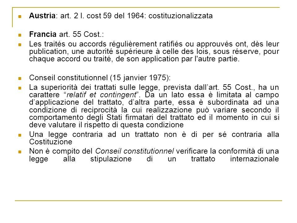 Austria: art. 2 l. cost 59 del 1964: costituzionalizzata