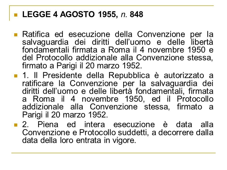 LEGGE 4 AGOSTO 1955, n. 848