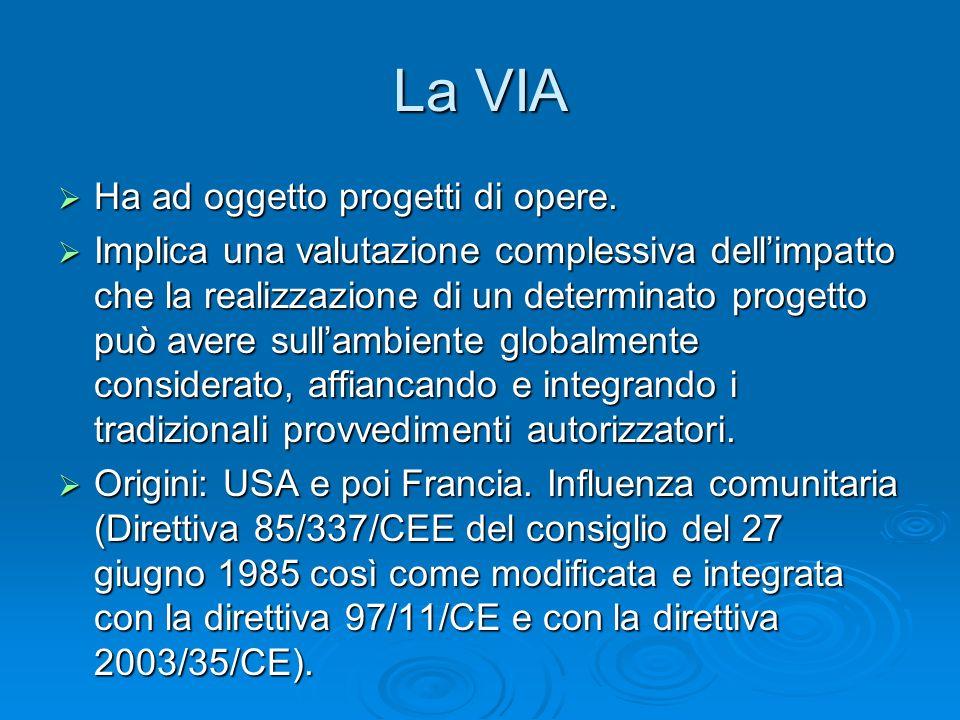 La VIA Ha ad oggetto progetti di opere.