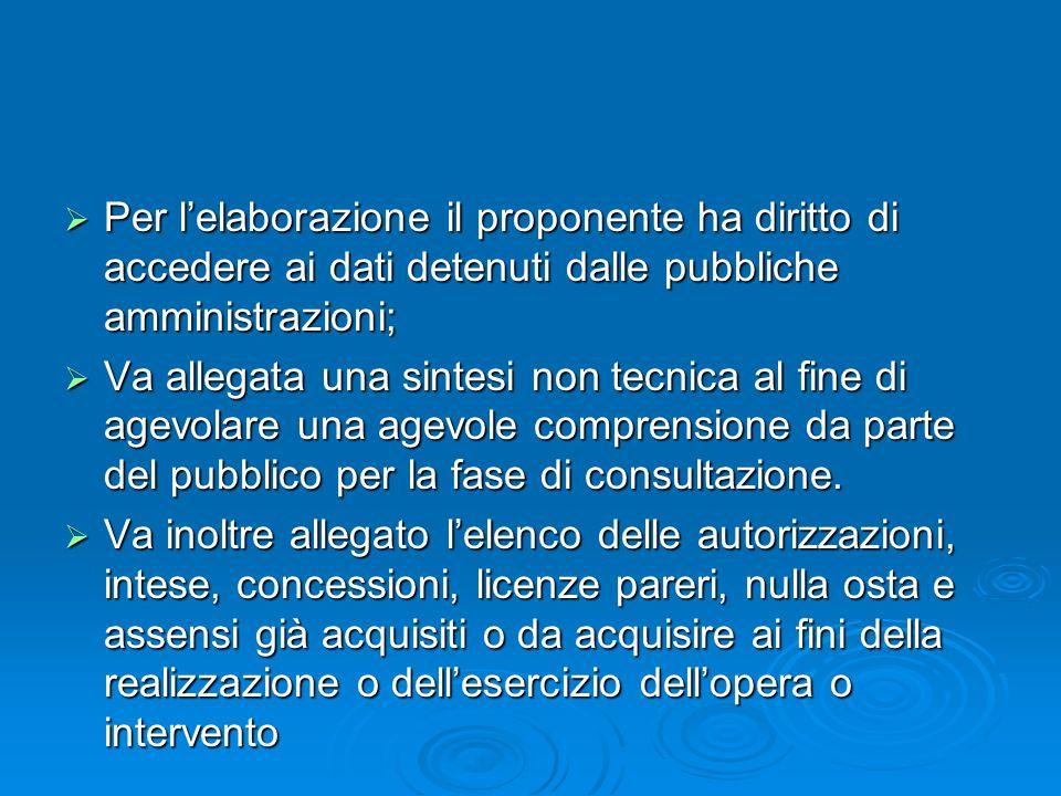 Per l'elaborazione il proponente ha diritto di accedere ai dati detenuti dalle pubbliche amministrazioni;