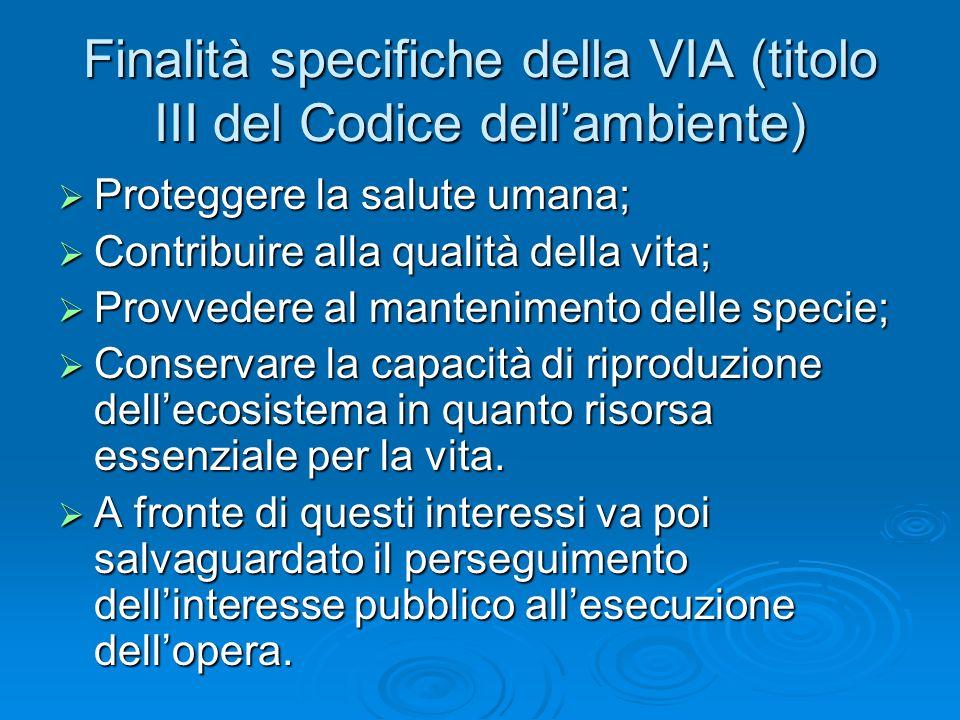 Finalità specifiche della VIA (titolo III del Codice dell'ambiente)