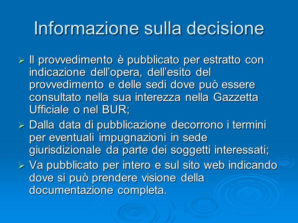 Informazione sulla decisione