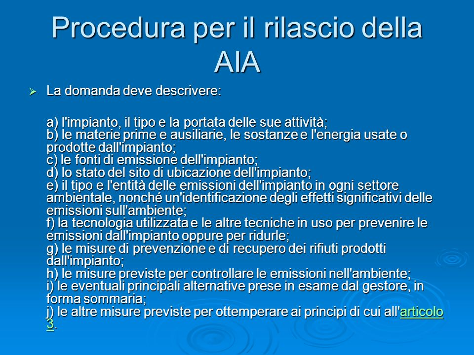 Procedura per il rilascio della AIA
