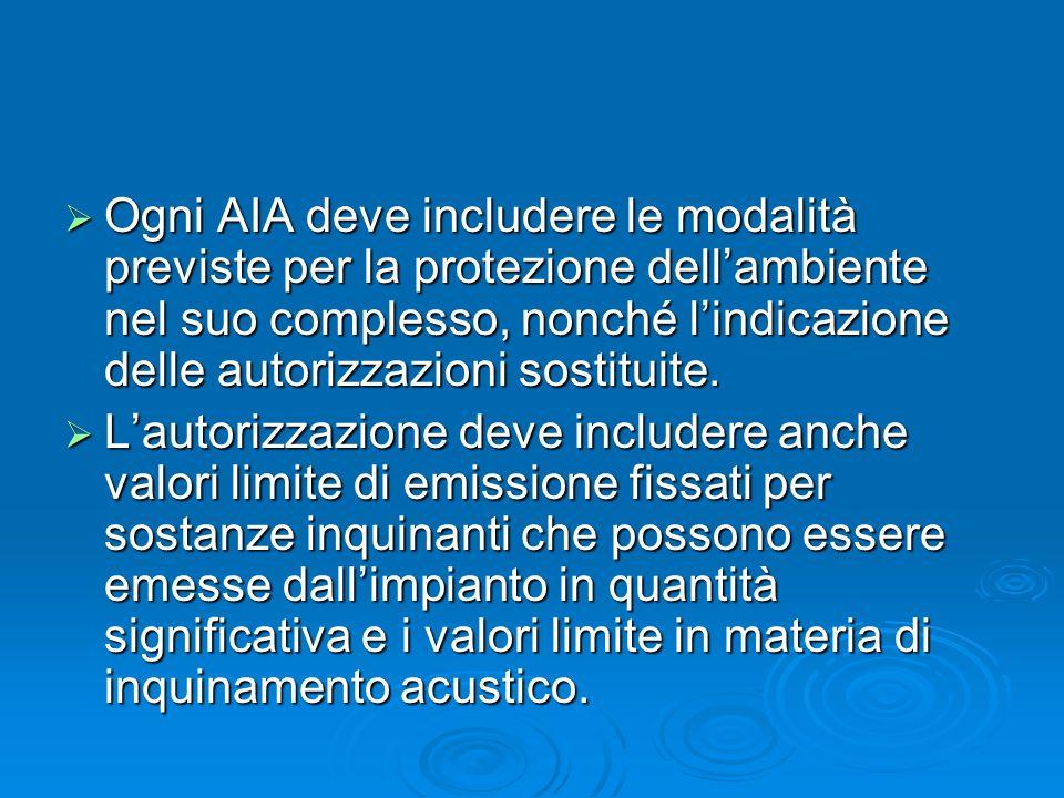Ogni AIA deve includere le modalità previste per la protezione dell'ambiente nel suo complesso, nonché l'indicazione delle autorizzazioni sostituite.