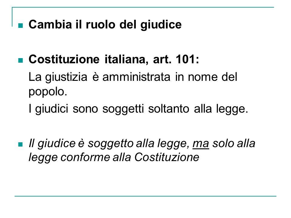 Cambia il ruolo del giudice Costituzione italiana, art. 101: