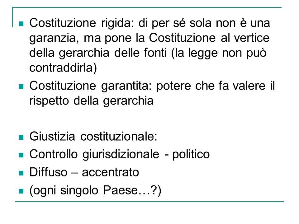 Costituzione rigida: di per sé sola non è una garanzia, ma pone la Costituzione al vertice della gerarchia delle fonti (la legge non può contraddirla)