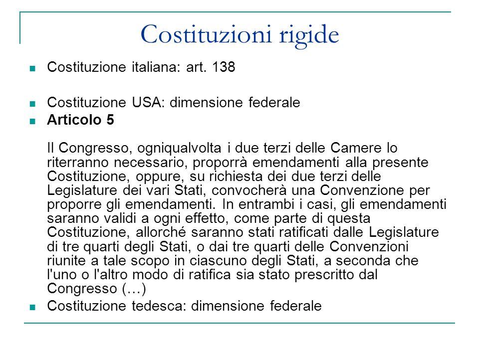 Costituzioni rigide Costituzione italiana: art. 138