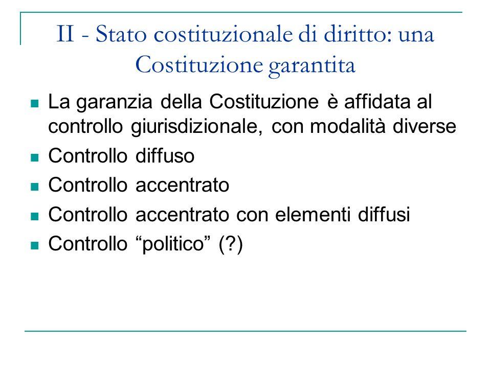 II - Stato costituzionale di diritto: una Costituzione garantita