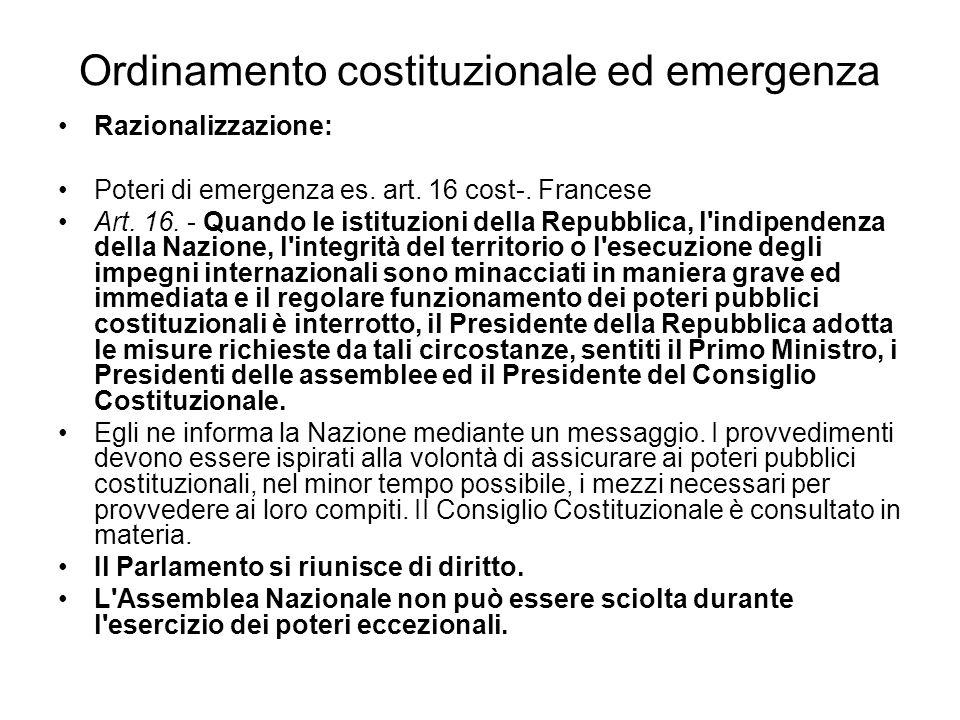 Ordinamento costituzionale ed emergenza