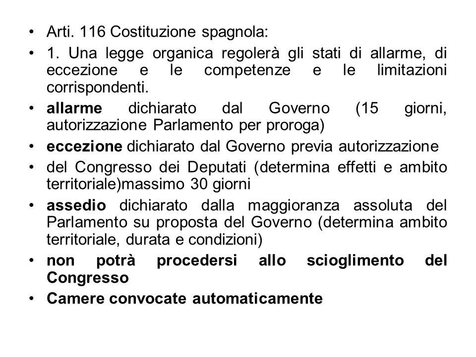 Arti. 116 Costituzione spagnola: