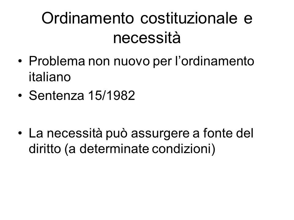 Ordinamento costituzionale e necessità