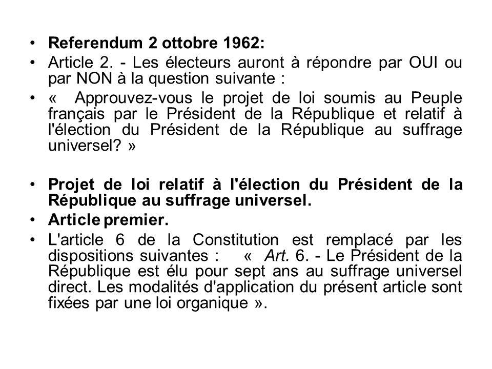 Referendum 2 ottobre 1962: Article 2. - Les électeurs auront à répondre par OUI ou par NON à la question suivante :