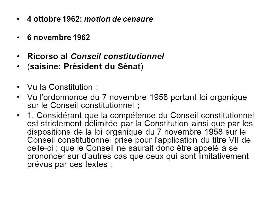 Ricorso al Conseil constitutionnel (saisine: Président du Sénat)