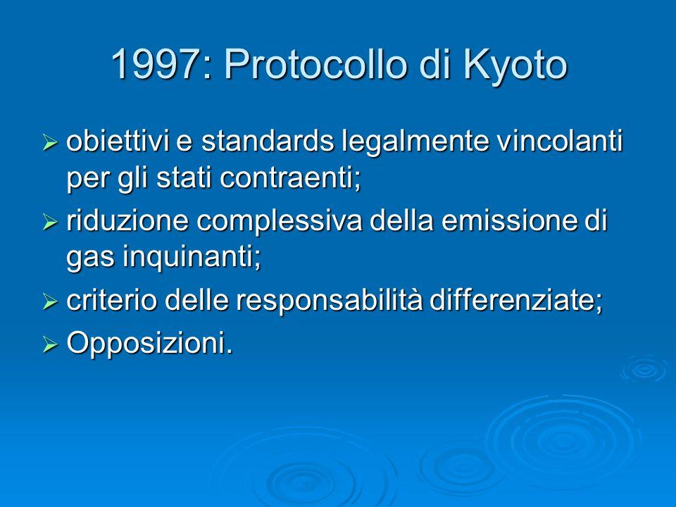 1997: Protocollo di Kyoto obiettivi e standards legalmente vincolanti per gli stati contraenti;