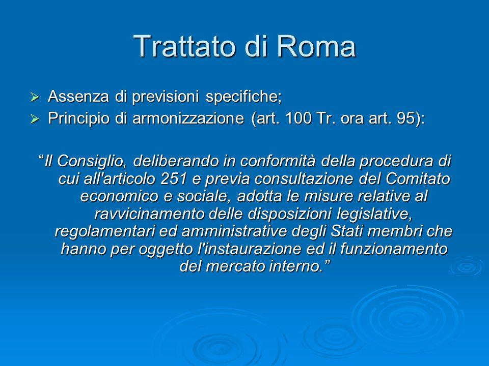 Trattato di Roma Assenza di previsioni specifiche;