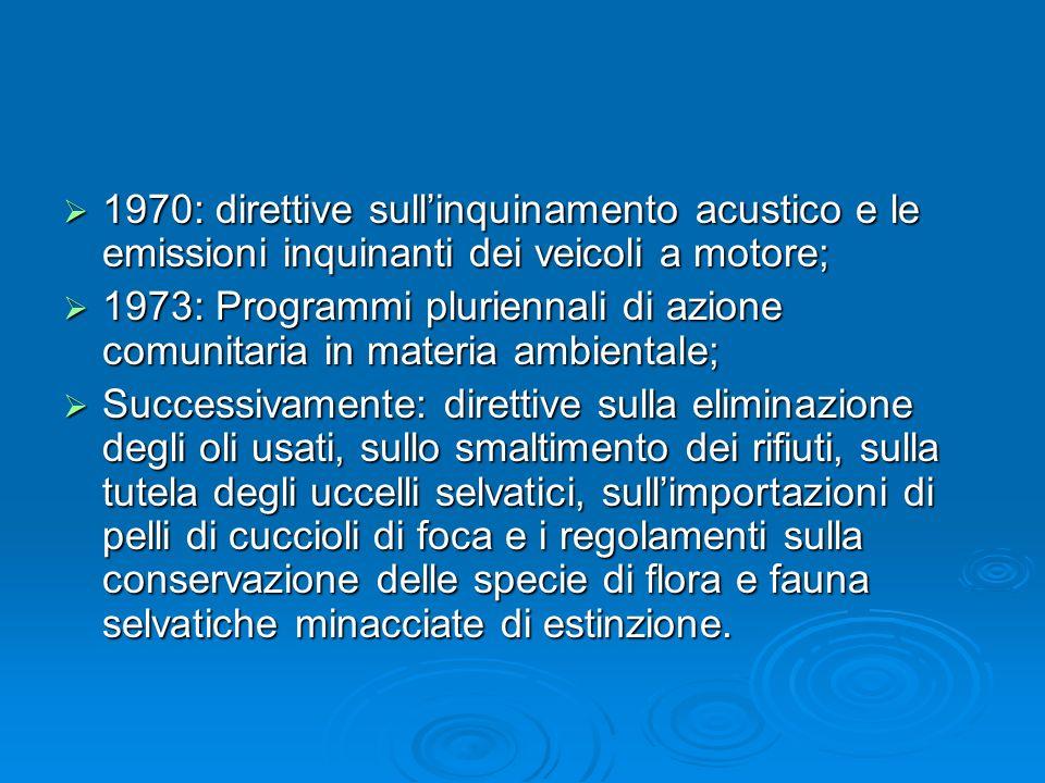 1970: direttive sull'inquinamento acustico e le emissioni inquinanti dei veicoli a motore;