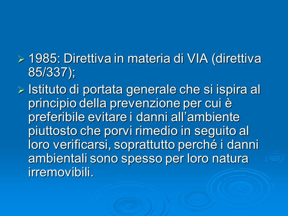 1985: Direttiva in materia di VIA (direttiva 85/337);