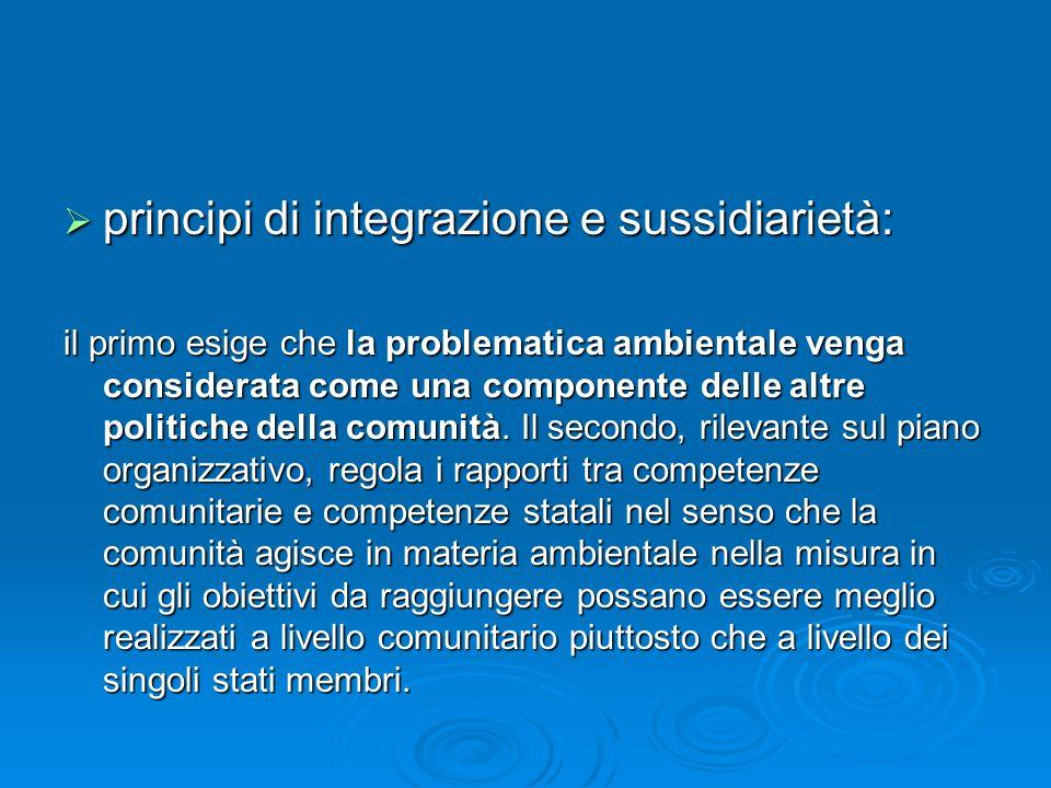 principi di integrazione e sussidiarietà: