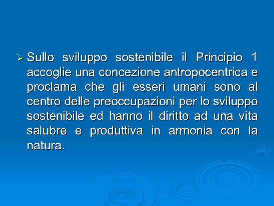 Sullo sviluppo sostenibile il Principio 1 accoglie una concezione antropocentrica e proclama che gli esseri umani sono al centro delle preoccupazioni per lo sviluppo sostenibile ed hanno il diritto ad una vita salubre e produttiva in armonia con la natura.