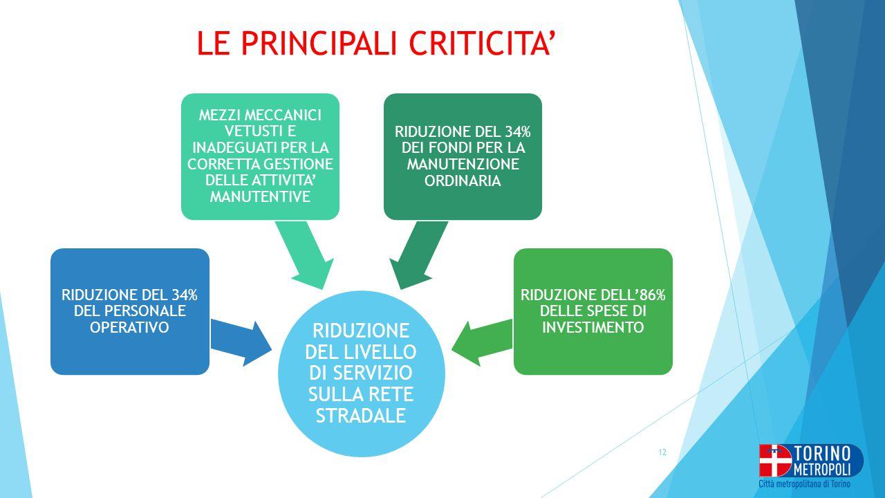 LE PRINCIPALI CRITICITA'