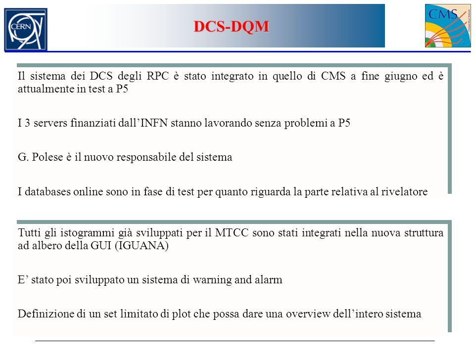 DCS-DQM Il sistema dei DCS degli RPC è stato integrato in quello di CMS a fine giugno ed è attualmente in test a P5.