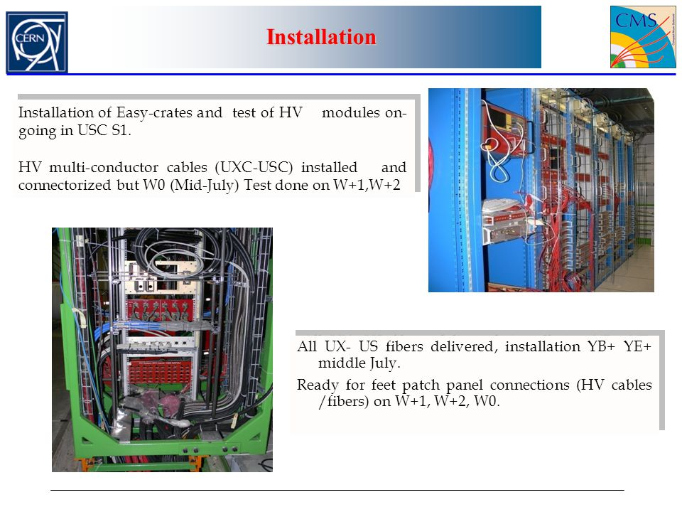 Installation Installation of Easy-crates and test of HV modules on-going in USC S1.