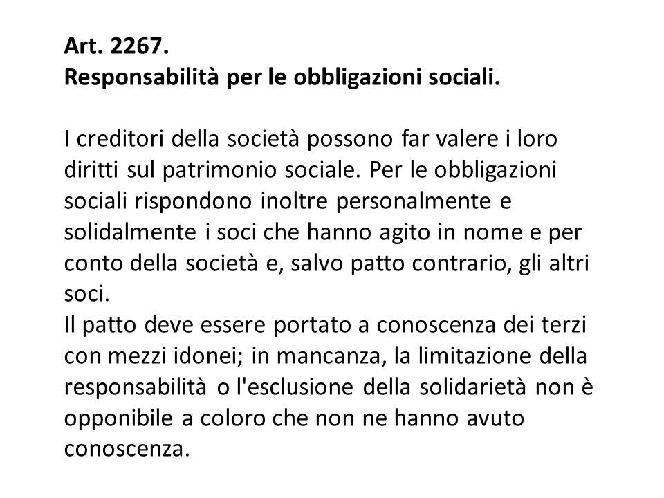 Art. 2267. Responsabilità per le obbligazioni sociali.