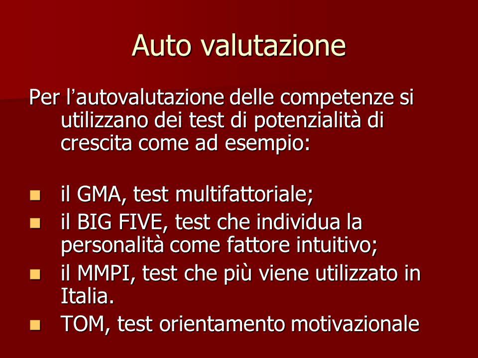 Auto valutazione Per l'autovalutazione delle competenze si utilizzano dei test di potenzialità di crescita come ad esempio: