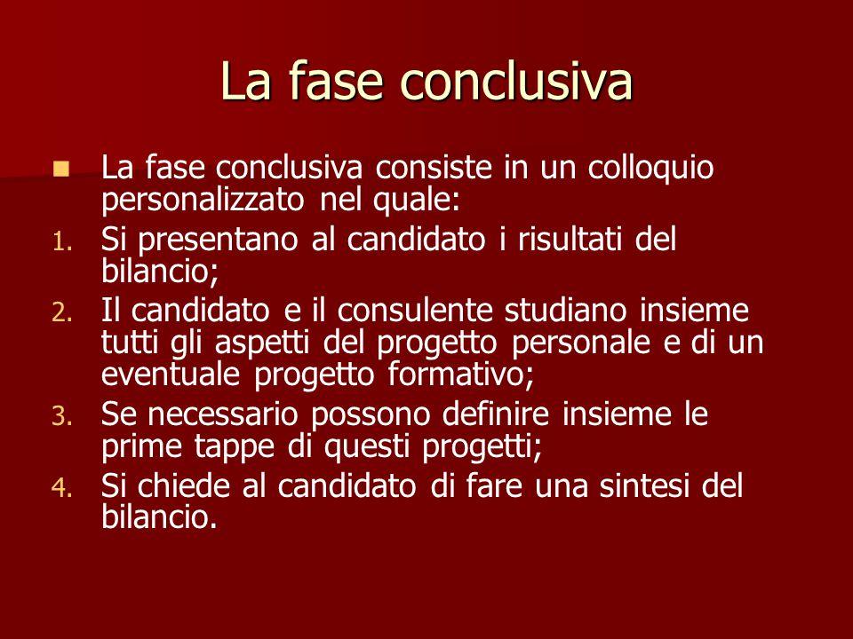 La fase conclusiva La fase conclusiva consiste in un colloquio personalizzato nel quale: Si presentano al candidato i risultati del bilancio;
