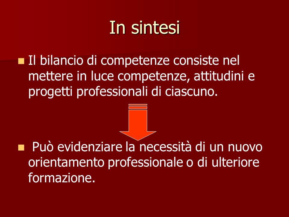 In sintesi Il bilancio di competenze consiste nel mettere in luce competenze, attitudini e progetti professionali di ciascuno.