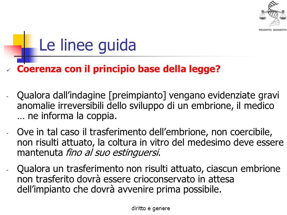 Le linee guida Coerenza con il principio base della legge