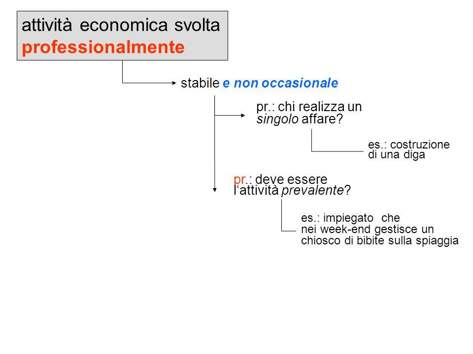 attività economica svolta professionalmente