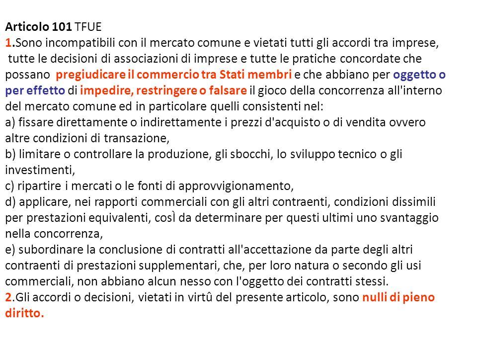 Articolo 101 TFUE 1.Sono incompatibili con il mercato comune e vietati tutti gli accordi tra imprese,