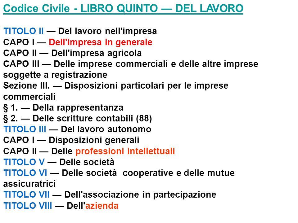 Codice Civile - LIBRO QUINTO — DEL LAVORO