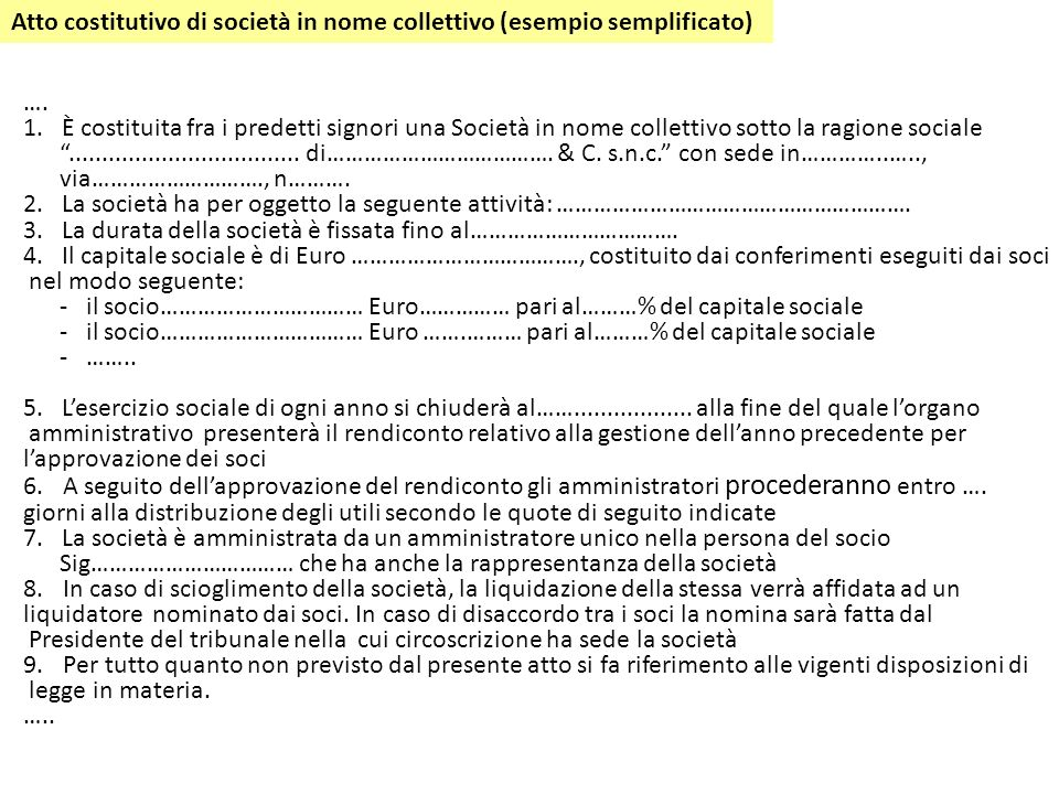Atto costitutivo di società in nome collettivo (esempio semplificato)