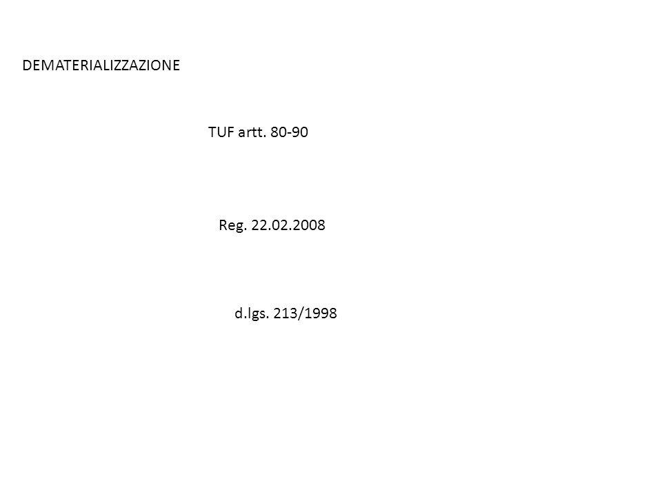 DEMATERIALIZZAZIONE TUF artt. 80-90 Reg. 22.02.2008 d.lgs. 213/1998