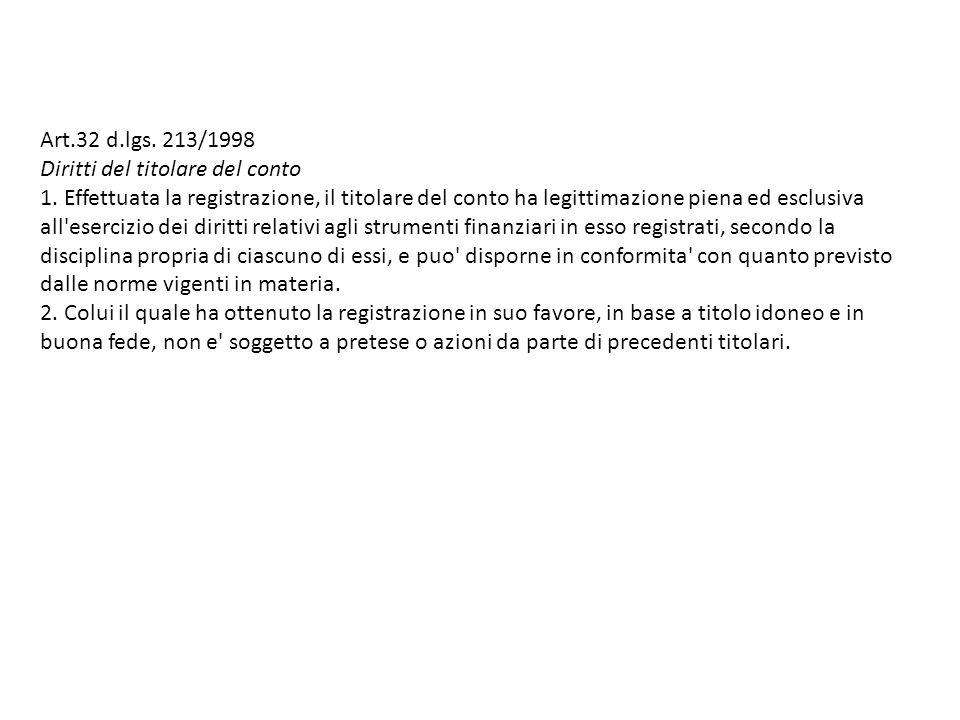 Art.32 d.lgs. 213/1998 Diritti del titolare del conto