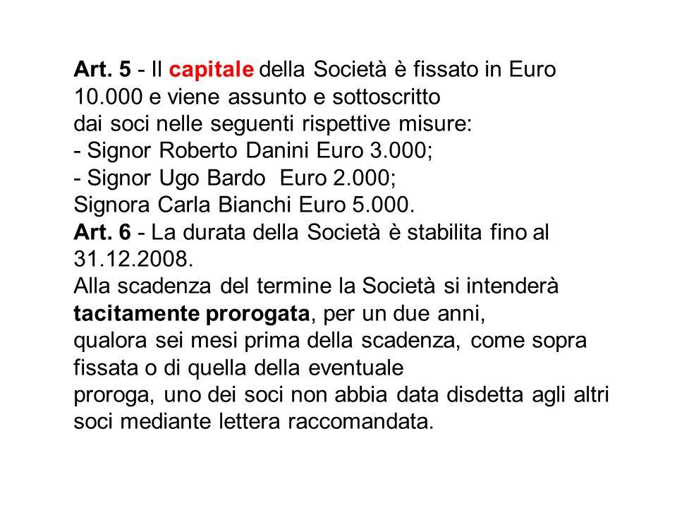 Art. 5 - Il capitale della Società è fissato in Euro 10