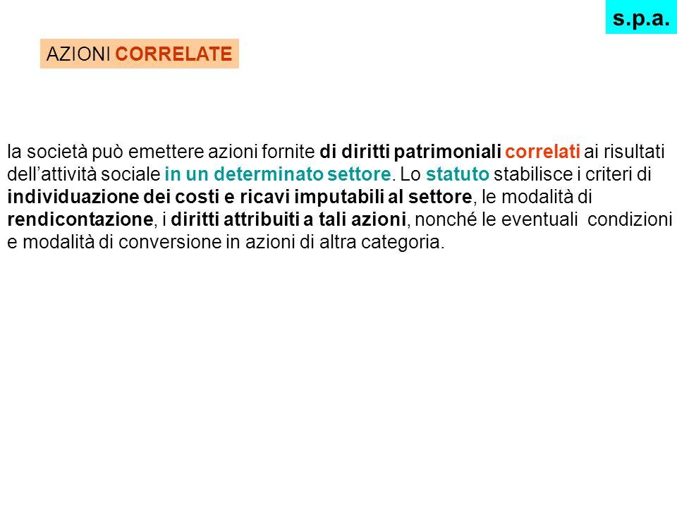s.p.a. AZIONI CORRELATE.