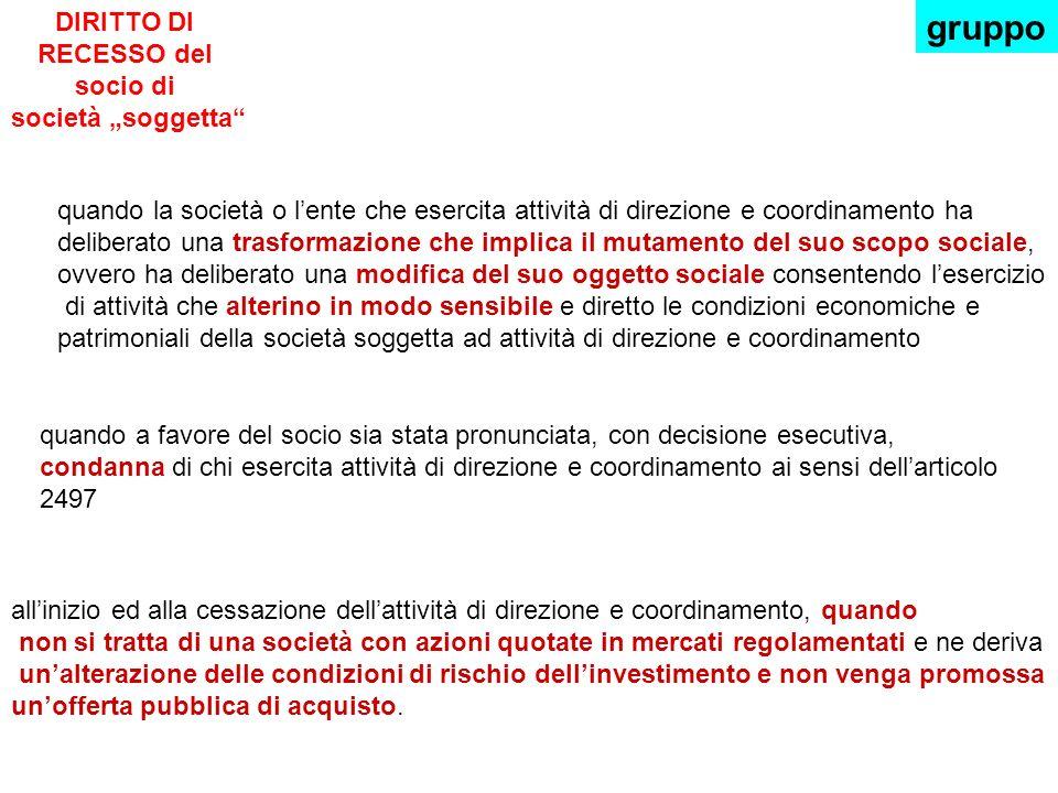 """DIRITTO DI RECESSO del socio di società """"soggetta"""