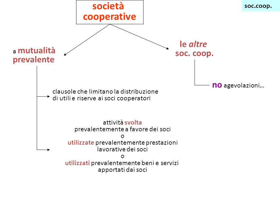 società cooperative le altre soc. coop. no agevolazioni… soc.coop.