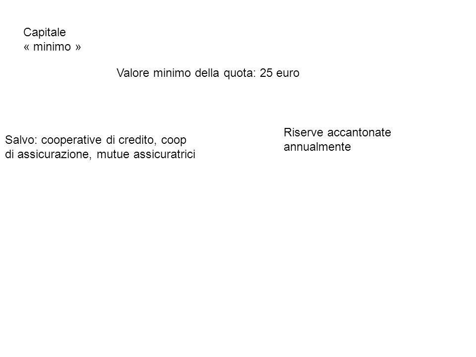 Capitale « minimo » Valore minimo della quota: 25 euro. Riserve accantonate annualmente.