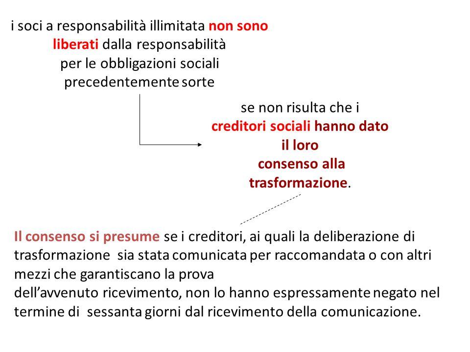 i soci a responsabilità illimitata non sono liberati dalla responsabilità per le obbligazioni sociali precedentemente sorte