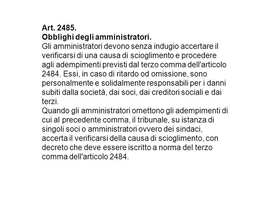 Art. 2485. Obblighi degli amministratori.