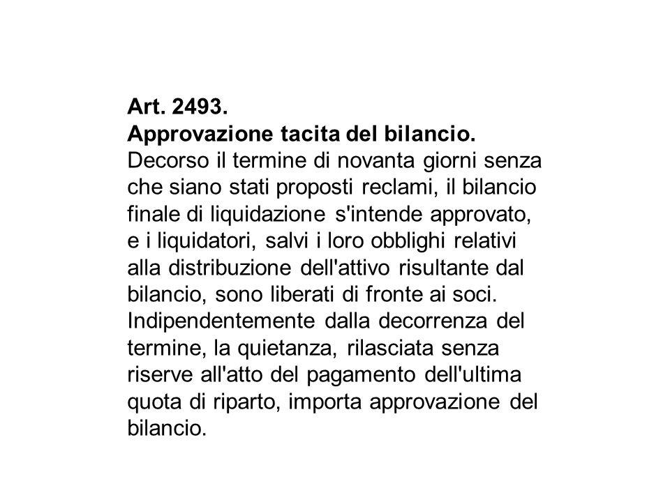 Art. 2493. Approvazione tacita del bilancio.