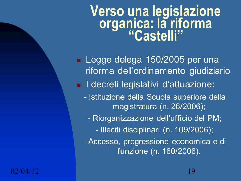 Verso una legislazione organica: la riforma Castelli