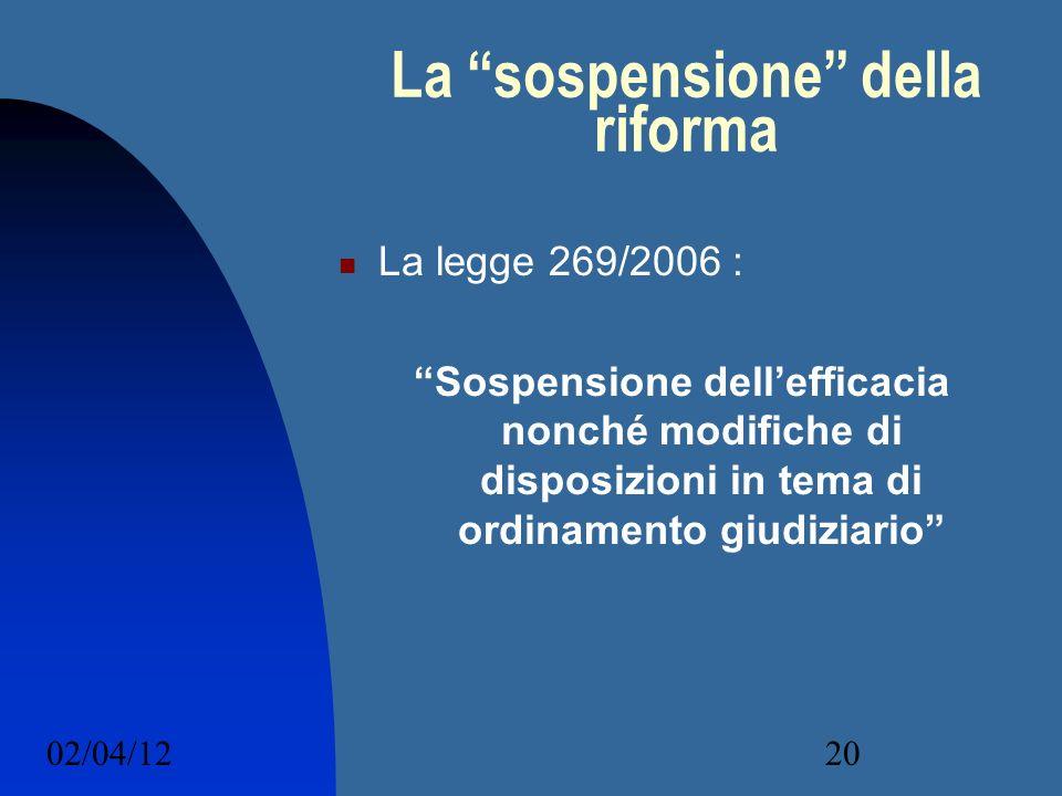 La sospensione della riforma