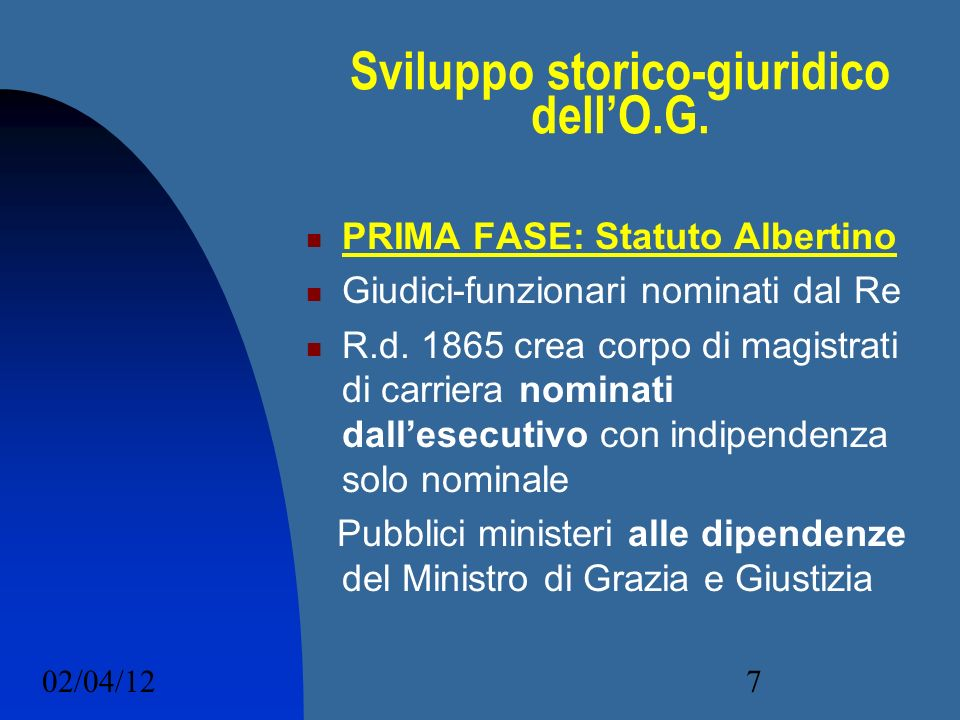 Sviluppo storico-giuridico dell'O.G.