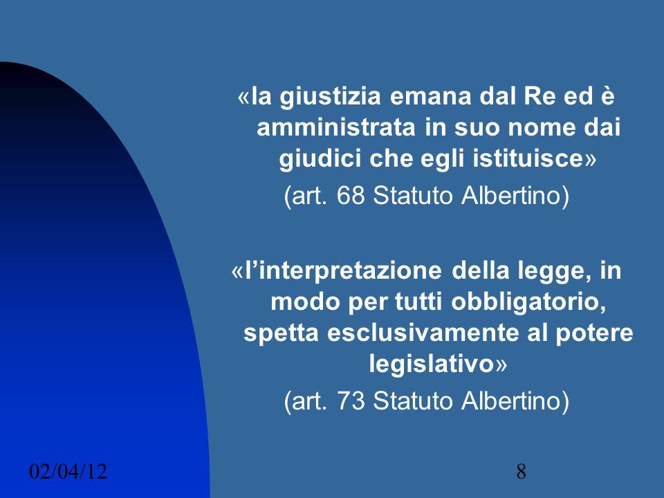 (art. 68 Statuto Albertino)